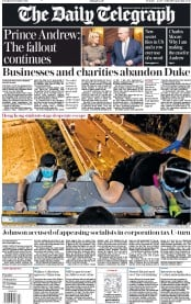 The Daily Telegraph (UK) Newspaper Front Page for 19 November 2019