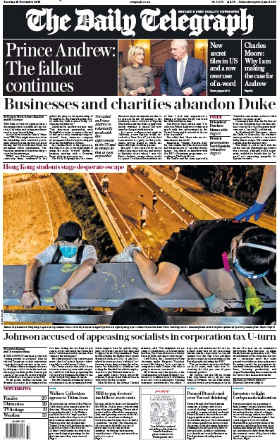 The Daily Telegraph Newspaper Front Page (UK) for 19 November 2019