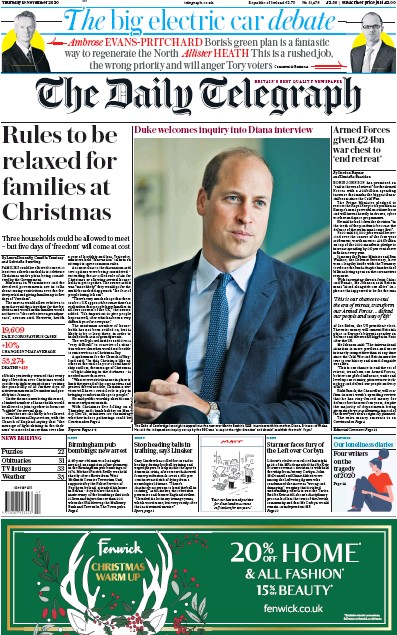 The Daily Telegraph Newspaper Front Page (UK) for 19 November 2020