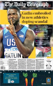 The Daily Telegraph (UK) Newspaper Front Page for 19 December 2017