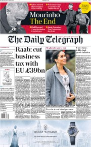 The Daily Telegraph (UK) Newspaper Front Page for 19 December 2018