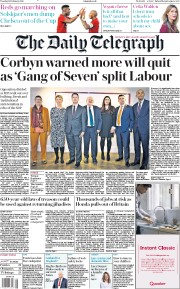 The Daily Telegraph () Newspaper Front Page for 19 February 2019