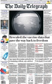 The Daily Telegraph front page for 19 February 2021