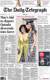 The Daily Telegraph Newspaper Front Page (UK) for 19 April 2012
