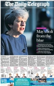 The Daily Telegraph (UK) Newspaper Front Page for 19 April 2017
