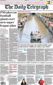 The Daily Telegraph front page for 19 April 2021