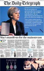 The Daily Telegraph (UK) Newspaper Front Page for 19 May 2017