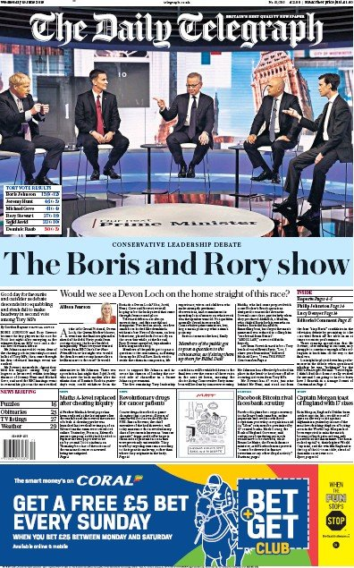 The Daily Telegraph Newspaper Front Page (UK) for 19 June 2019