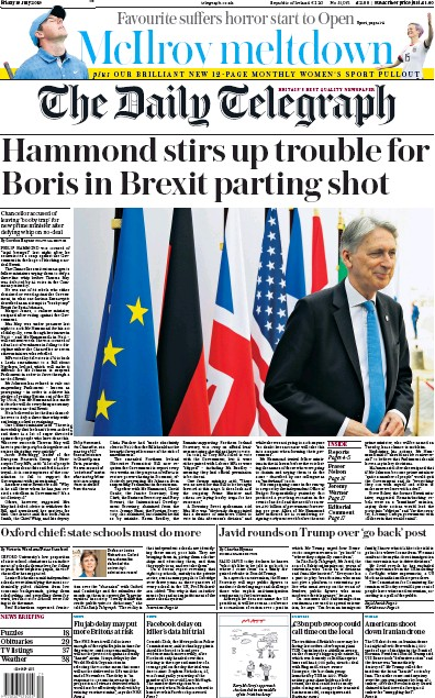 The Daily Telegraph Newspaper Front Page (UK) for 19 July 2019