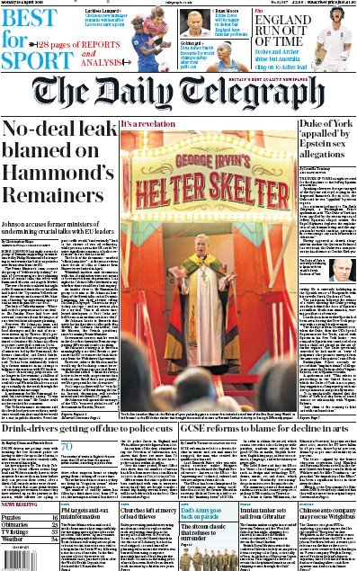 The Daily Telegraph Newspaper Front Page (UK) for 19 August 2019