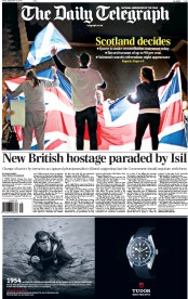 The Daily Telegraph (UK) Newspaper Front Page for 19 September 2014