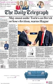 The Daily Telegraph (UK) Newspaper Front Page for 19 September 2017