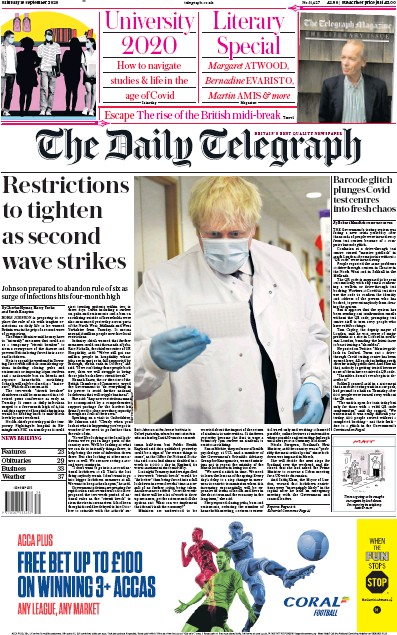 The Daily Telegraph Newspaper Front Page (UK) for 19 September 2020