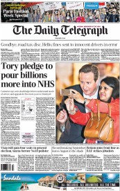 The Daily Telegraph (UK) Newspaper Front Page for 1 October 2014