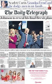 The Daily Telegraph (UK) Newspaper Front Page for 1 October 2019