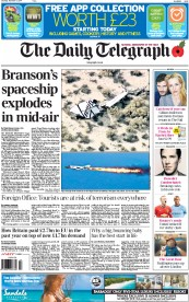 The Daily Telegraph (UK) Newspaper Front Page for 1 November 2014