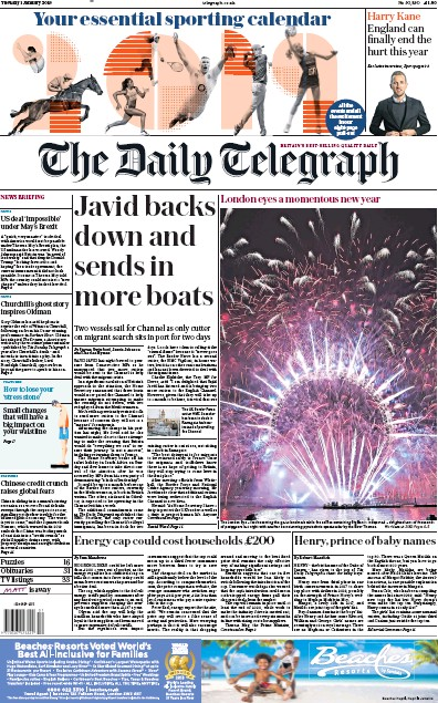 The Daily Telegraph Newspaper Front Page (UK) for 1 January 2019
