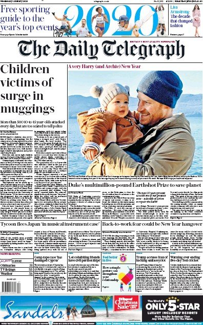 The Daily Telegraph Newspaper Front Page (UK) for 1 January 2020