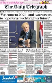 The Daily Telegraph front page for 1 January 2021