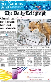 The Daily Telegraph (UK) Newspaper Front Page for 1 February 2019