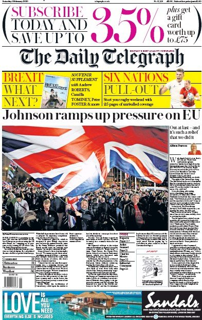 The Daily Telegraph Newspaper Front Page (UK) for 1 February 2020