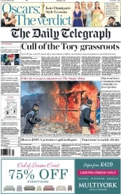 The Daily Telegraph (UK) Newspaper Front Page for 1 March 2016