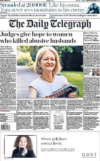 The Daily Telegraph Newspaper Front Page (UK) for 1 March 2019