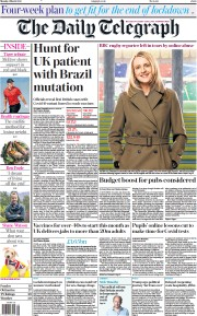 The Daily Telegraph (UK) Newspaper Front Page for 1 March 2021