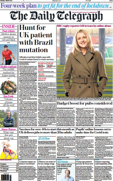 The Daily Telegraph Newspaper Front Page (UK) for 1 March 2021