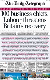 The Daily Telegraph (UK) Newspaper Front Page for 1 April 2015