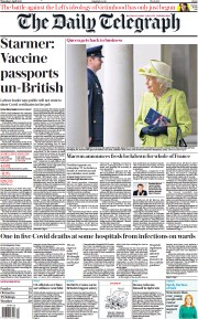 The Daily Telegraph (UK) Newspaper Front Page for 1 April 2021