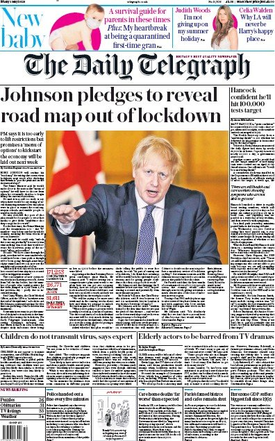 The Daily Telegraph Newspaper Front Page (UK) for 1 May 2020