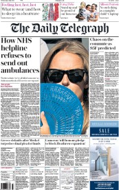 The Daily Telegraph (UK) Newspaper Front Page for 1 July 2015