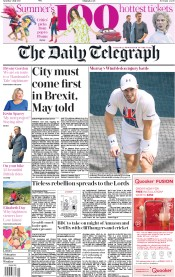 The Daily Telegraph (UK) Newspaper Front Page for 1 July 2017
