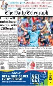 The Daily Telegraph (UK) Newspaper Front Page for 1 July 2019