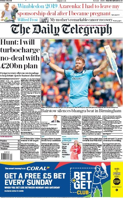 The Daily Telegraph Newspaper Front Page (UK) for 1 July 2019