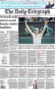 The Daily Telegraph () Newspaper Front Page for 1 July 2021