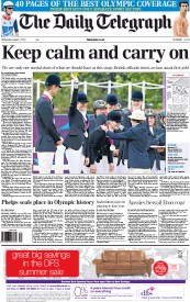 The Daily Telegraph Newspaper Front Page (UK) for 1 August 2012