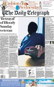 The Daily Telegraph (UK) Newspaper Front Page for 1 August 2018
