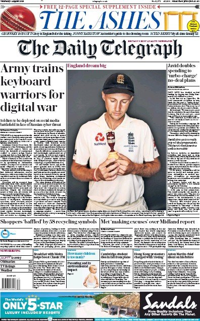 The Daily Telegraph Newspaper Front Page (UK) for 1 August 2019