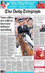 The Daily Telegraph (UK) Newspaper Front Page for 1 September 2014