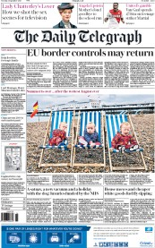 The Daily Telegraph (UK) Newspaper Front Page for 1 September 2015