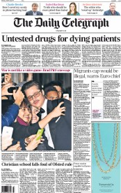 The Daily Telegraph (UK) Newspaper Front Page for 20 October 2014