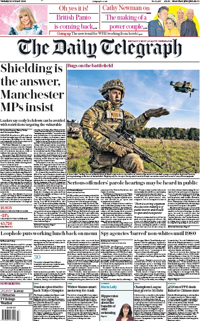 The Daily Telegraph Newspaper Front Page (UK) for 20 October 2020