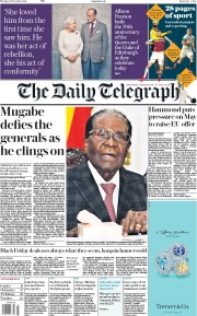 The Daily Telegraph (UK) Newspaper Front Page for 20 November 2017