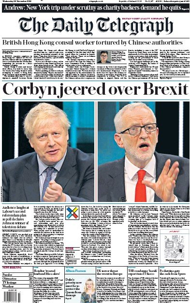 The Daily Telegraph Newspaper Front Page (UK) for 20 November 2019