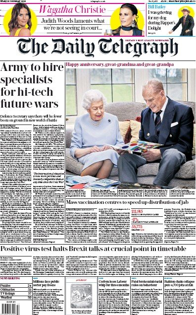 The Daily Telegraph Newspaper Front Page (UK) for 20 November 2020