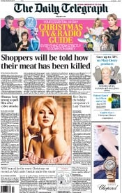 The Daily Telegraph (UK) Newspaper Front Page for 20 December 2014