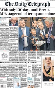 The Daily Telegraph (UK) Newspaper Front Page for 20 December 2018