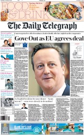 The Daily Telegraph (UK) Newspaper Front Page for 20 February 2016